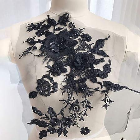 2 pezzi ricamato Venise pizzo fiori APPLIQUE Trim motivi colore NERO # 2
