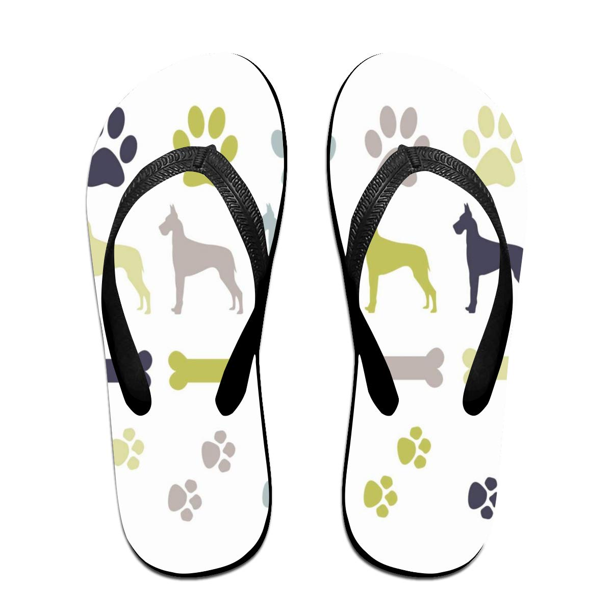 Flip Flops Paw Prints Dogs Womens Outdoor Slippers Thong Sandals for Man