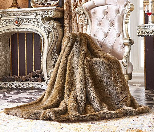 Lindsey Home Fashion Faux Fur Throw, Blankets for Bed Super Soft Fiber, Mink, Wolf, Bear, Coyote, 60x84, 60x70, 60x60 (60x70(INCH), Bear Brown)