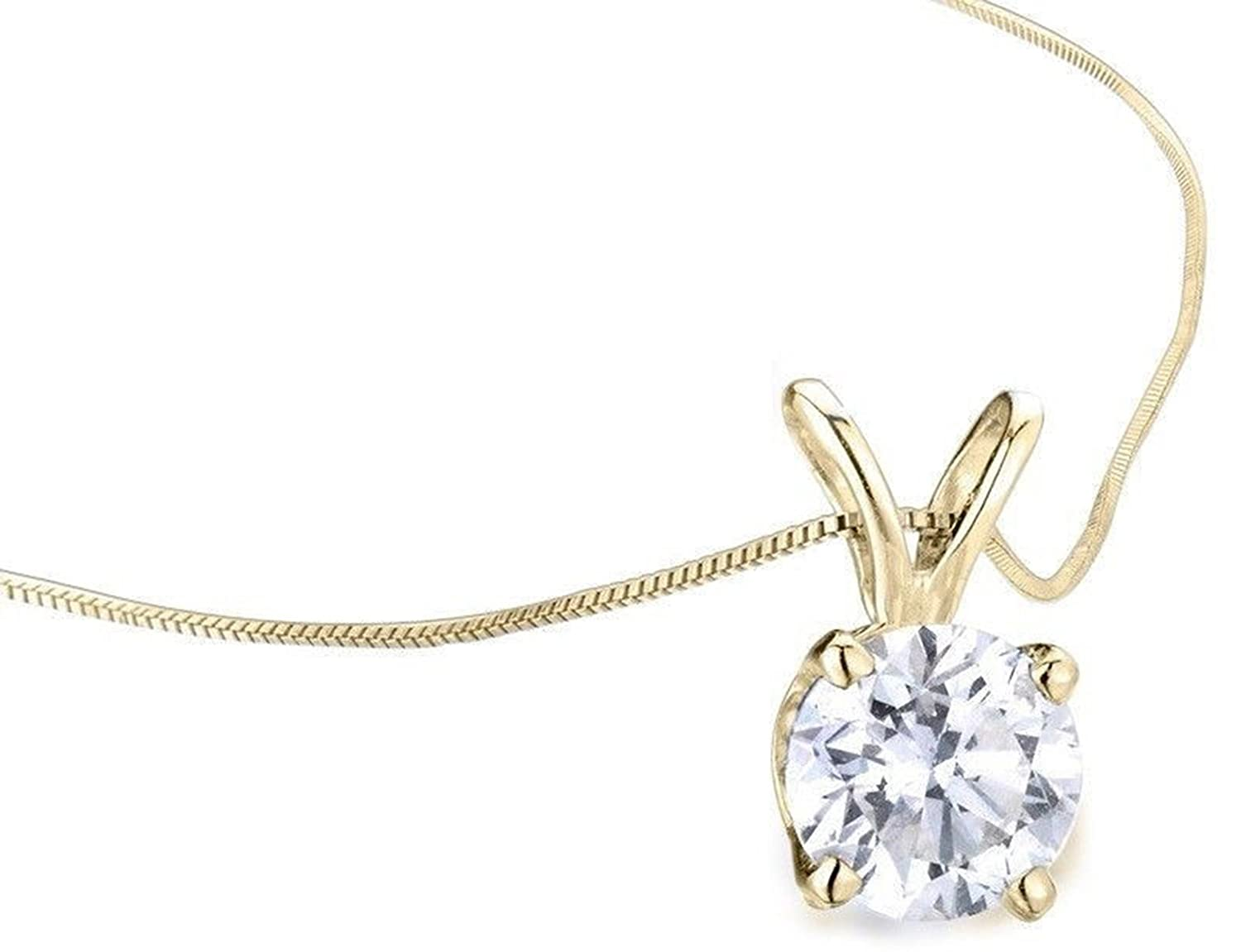 Clara Pucci 2.9 CT Round Cut Real Solid 14K Yellow Gold Solitaire Pendant Box Necklace 16 Chain