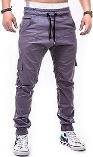 Elecenty Moda sportiva da uomo Pure Colour Bandage Casual Allentato Pantaloni sportivi con coulisse