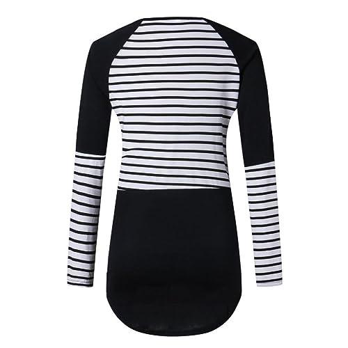 Mujer camisa de manga larga, Yannerr moda ocio rayas blusas patchwork tops