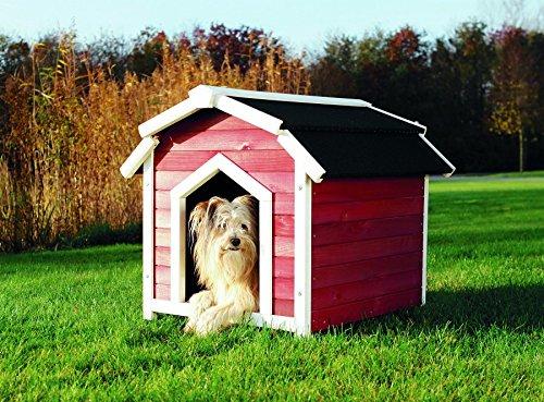 Trixie 39515 natura Hundehütte Country, S-M 71 x 69 x 75 cm, rot/weiß
