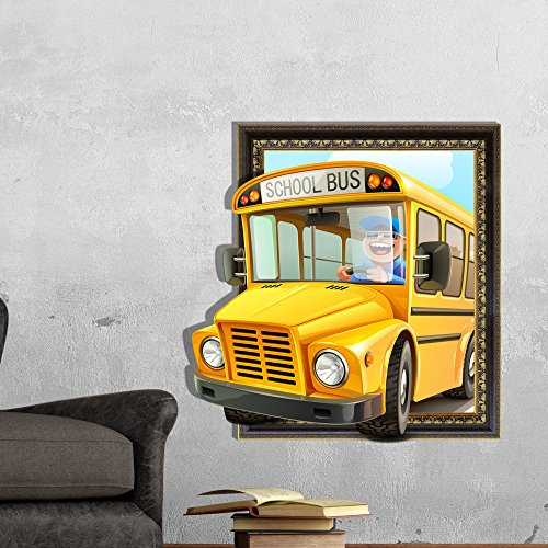 3D wall stickers (179 cute school bus) wall sticker wallpaper HD self-adhesive paper background bedroom living room TV sofa (58.758cm) Christmas Halloween decorations-YU&XIN -