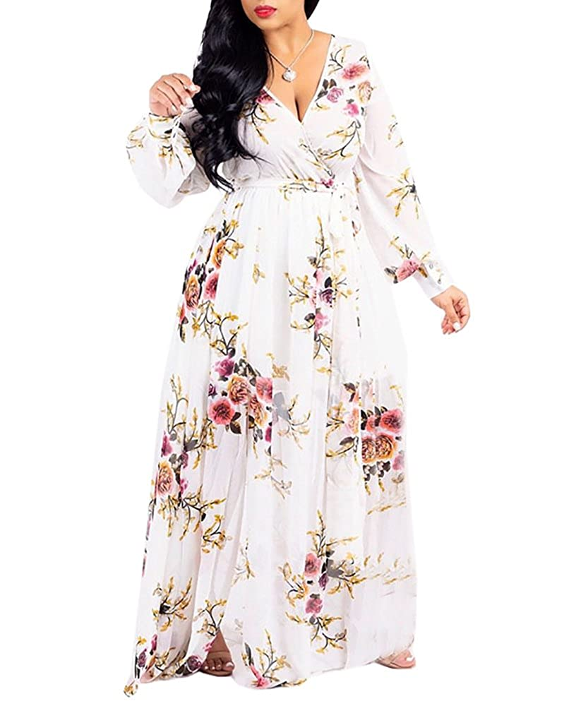 9a5b44ec96b86 Women s flower printed v neck long sleeve high waist oversized bohemian  stretchy long maxi dresses with belt. Feature v-neckline