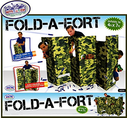 Matty's Toy Stop Fold-A-Fort Corrugated Cardboard Defensive Barrier Wall with Cutouts for Nerf, Laser Tag & More (Unfolds to 4'x7')