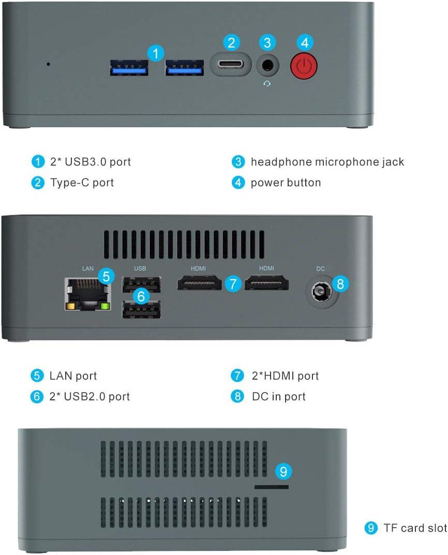 Gigabit Ethernet 8 GB RAM // 256 GB SSD Dual WiFi Mini PC Beelink U57 Mini Computer Desktop Windows 10 con Intel Core i5-5257U RAM e ROM Estese Doppia uscita HDMI