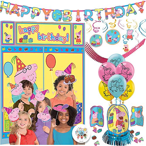 The Ultimate Peppa Pig Birthday Party Decorations Supplies Pack With Peppa Pig Wall Scene Setter, 6 Balloons, Add An Age Birthday Banner, Swirl Decorations, Table Decorating Kit, and Exclusive Pin