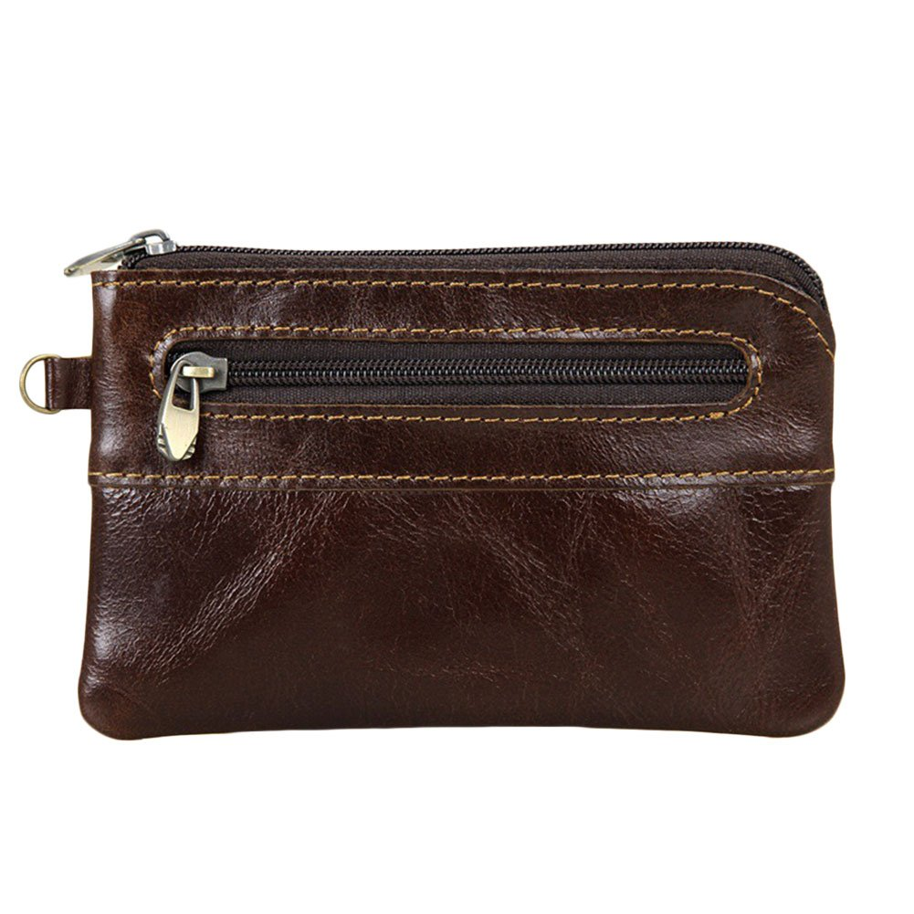 Mens Womens Genuine Leather Coin Purse Zipper Wallet Card Holder Vintage Retro