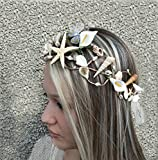 Beach Wedding Crown, Nautical Mermaid jewelry, Natural hair accessories, Seashells Starfish Crown