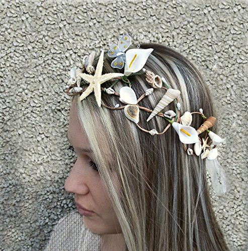 Beach Wedding Crown, Nautical Mermaid jewelry, Natural hair accessories, Seashells Starfish Crown by Handmade AnaMarina