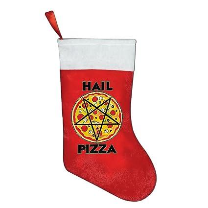 mexmas granizo Pizza decoración árbol de Navidad Vacaciones bolsillos de Navidad calcetines de Papá Noel,