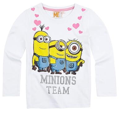 963862149695e MINIONS T-Shirt Manches Longues enfant Fille Blanc DE 6 à 12ans (12 ...