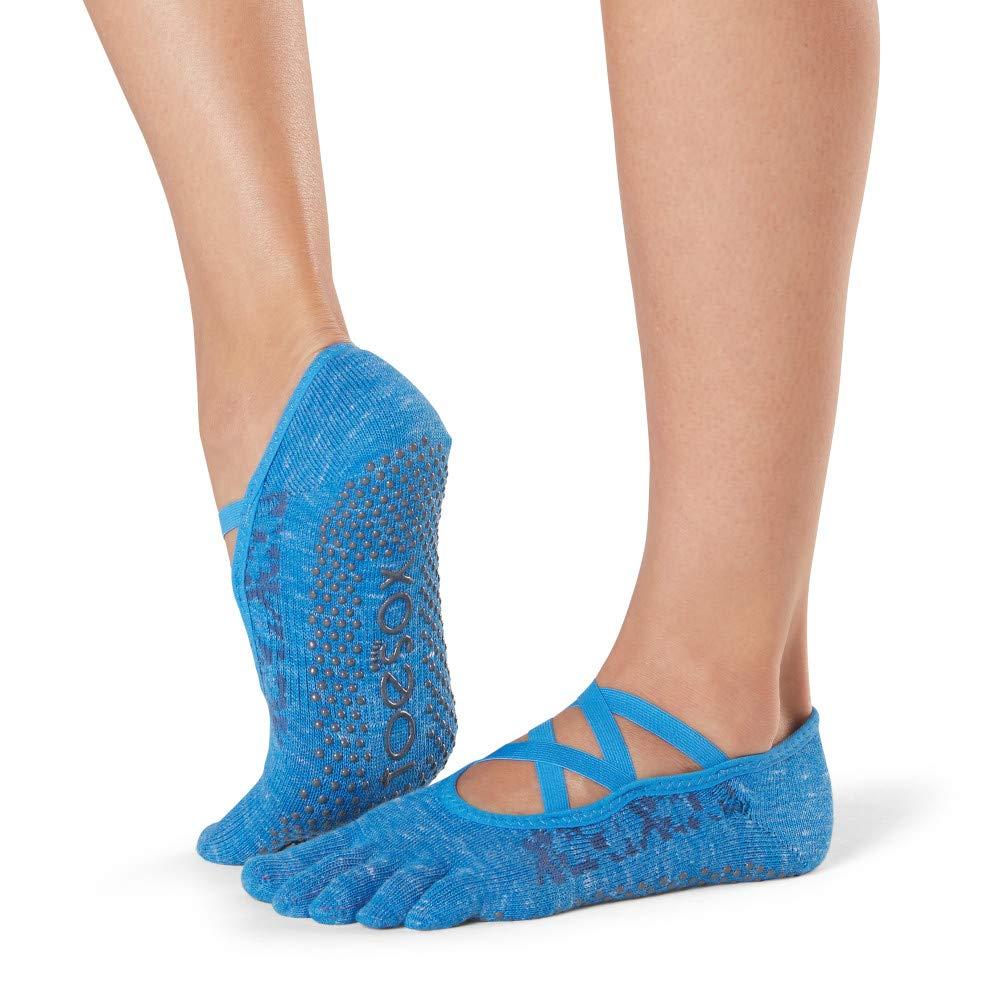 Toesox Womens Grip Pilates Barre Socks-Non Slip Elle Full Toe for Yoga /& Ballet Small Lapis
