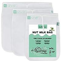 Bellamei Nut Milk Bag Reusable 3 Pack 200 Micron Nut Bags For Almond/Soy Milk Greek...
