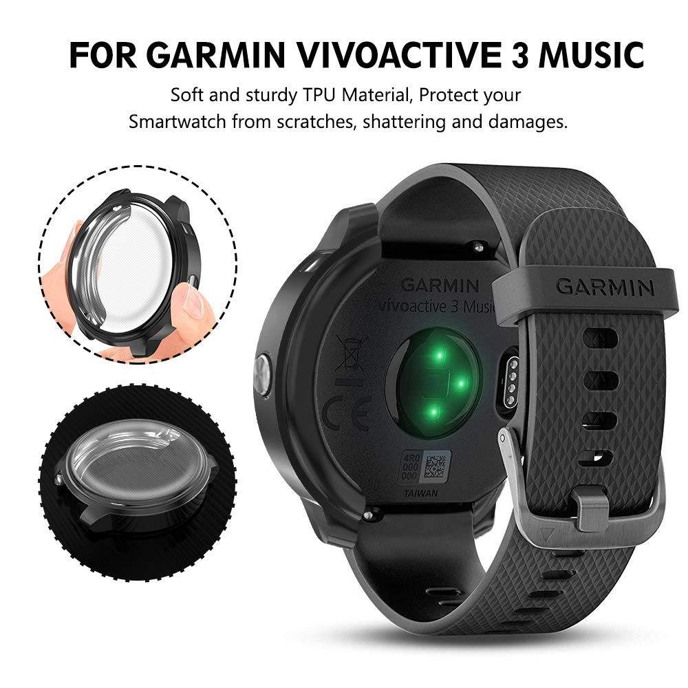 XIMU Compatible con Garmin Vivoactive 3 Music Caso Protector de Pantalla [2 Paquetes] TPU Full-Cubierta Resistente a los arañazos para Garmin ...