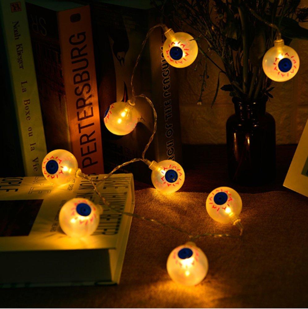 ハロウィンライトハロウィン文字列ライトjack-o-lantern 20 LEDライトホワイトスカルライトBatsゴースト目&ゴーストシェイプライト文字列フェアリーライト 20 LDE (78.7 inches Length) ホワイト  white ghost eyes lights B07FZWWC63