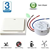 Acegoo Wireless Lights Switch Kit, Remote Wall Switch No Wiring No Battery Self-Powered Transmitter with Relay Controller Remote Control Lights Lamps Electronics Devices Fans Appliances On/off 5A (Switch and Receiver)