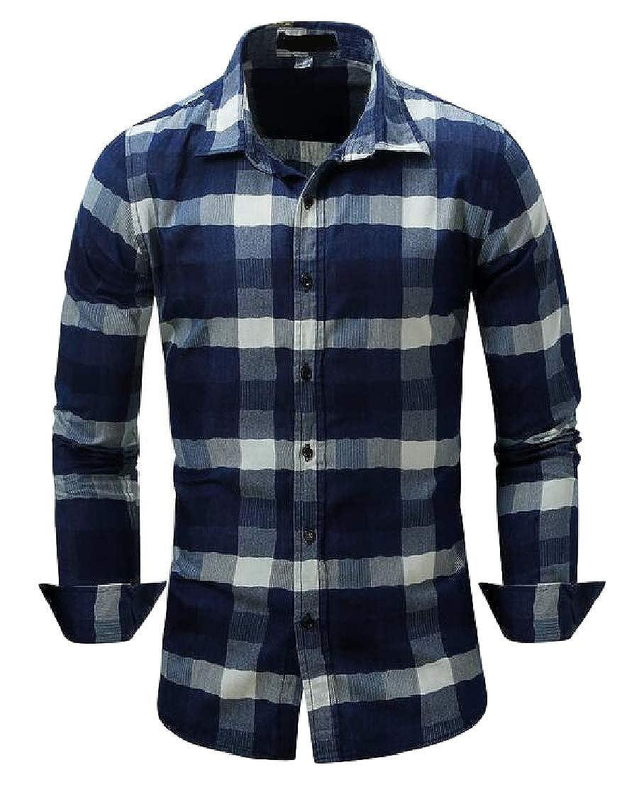Hajotrawa Mens Long-Sleeve Check Button Down Slim Fit Denim Buffalo Shirts