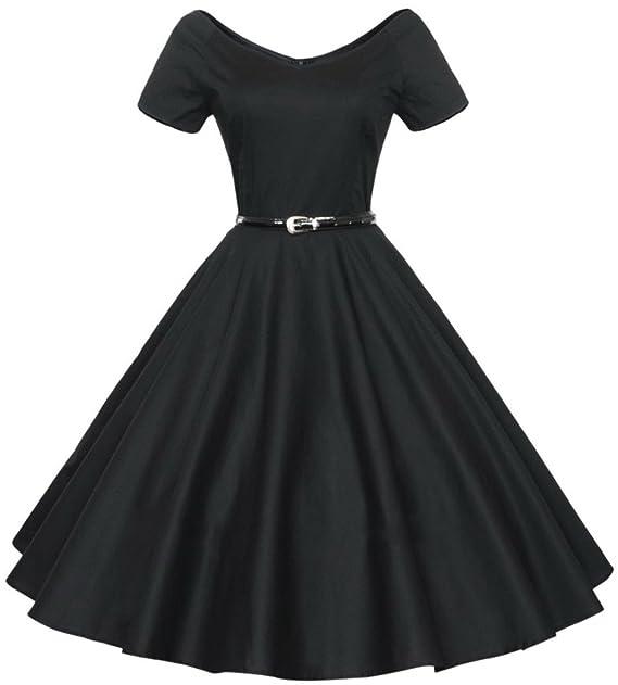 Aivtalk Retro Mujer 50s Vestido Vintage Escote en V Estido de Audrey Hepburn Swing Pinup Rockabilly