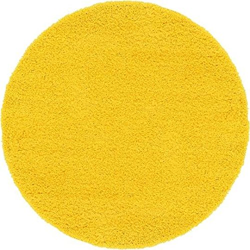 Unique Loom Solid Shag Collection Tuscan Sun Yellow 6 ft Round Area Rug (6' x 6')