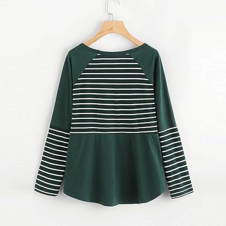 Blusas de mujer Invierno K-youth® Mujer Camisas Manga Larga Elegante Moda Rayas Round Collar T-shirt: Amazon.es: Ropa y accesorios