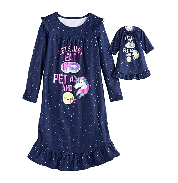 Amazon.com: Donut, Unicorn, dormir Fleece Camisón & Muñeca ...