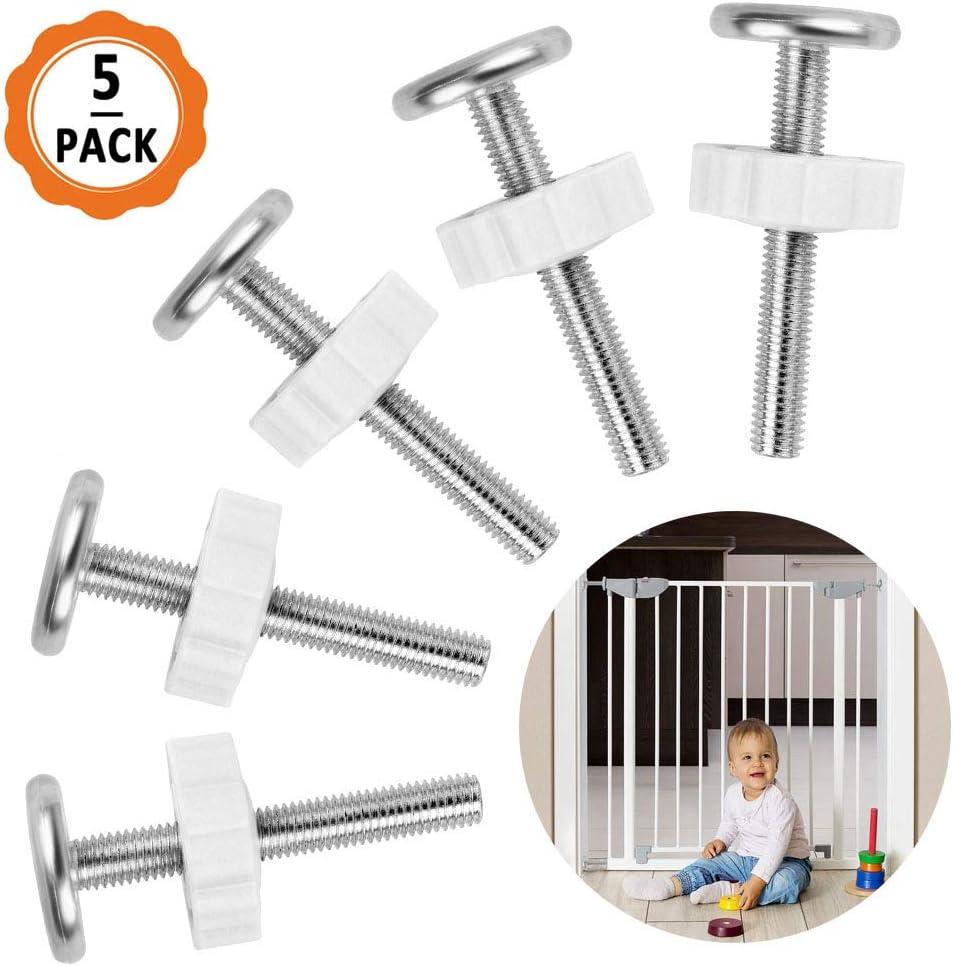 Juego de tornillos de rejilla de escalera 5pcs M10 Tornillos de presión de pantalla para niños Protector de escalera Kit de tornillos de varilla roscada para rejilla para mascotas
