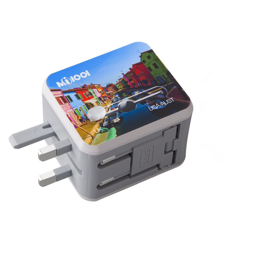 Travel Adapter Milool with 2.4A Two USB Port All In One for UK,US, AU,EU&150+Countries International AC Wall Plug Adapter USB Charger for iPhone,Android,All USB Devices Built-in Spare Fuse