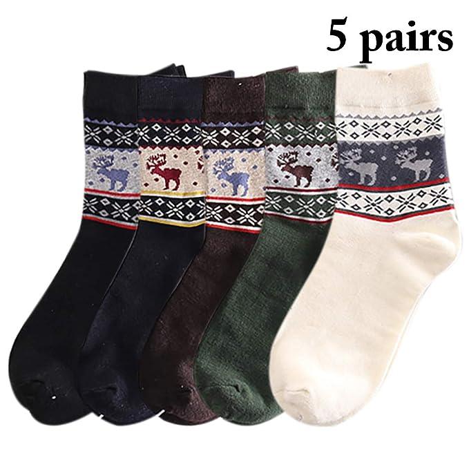 Zoylink 5 Pares Calcetines De Navidad Para Hombre Calcetines De Vacaciones Calcetines Elk Pattern Warm Socks Crew: Amazon.es: Ropa y accesorios