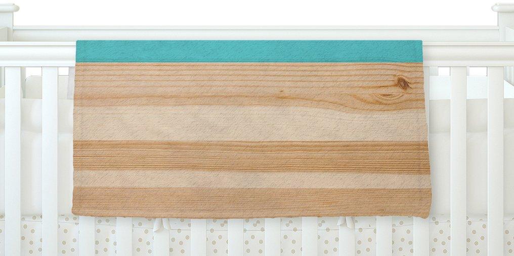 KESS InHouse KESS Original ''Spring Swatch - Blue Green'' Teal Wood Fleece Baby Blanket, 40'' x 30''