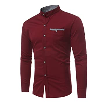 Hombre blusa manga larga Otoño,Sonnena ❤ Camisas para hombres Slim Solid Color Camiseta