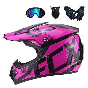 MRDEAR Motocross Helmet Kids Motorcycle Set with Goggles Gloves Mask Adult Full Face Bike Helmet Off Road Crash MTB Helmets ATV for Youth Men Women Black and Pink//DOT certification