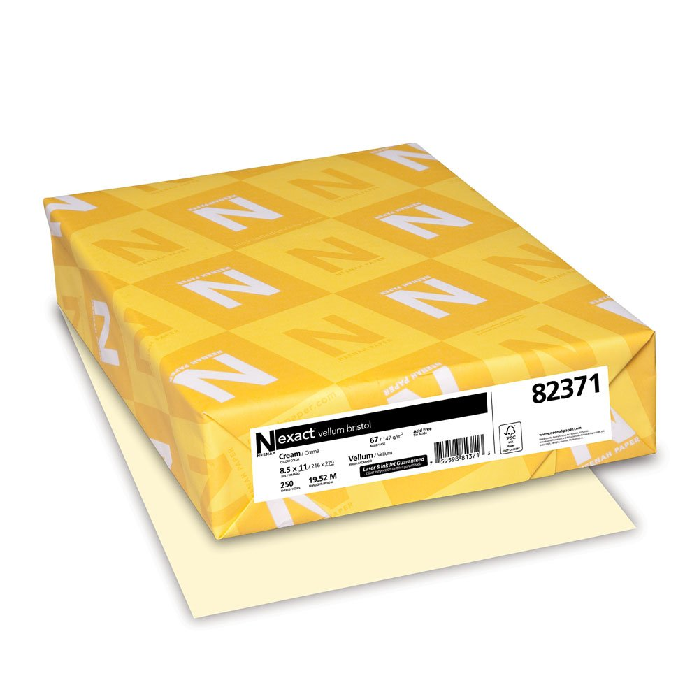 Exact Vellum Bristol, 8.5'' x 11'', 67 lb/147 GSM, Cream, 250 Sheets (82371)