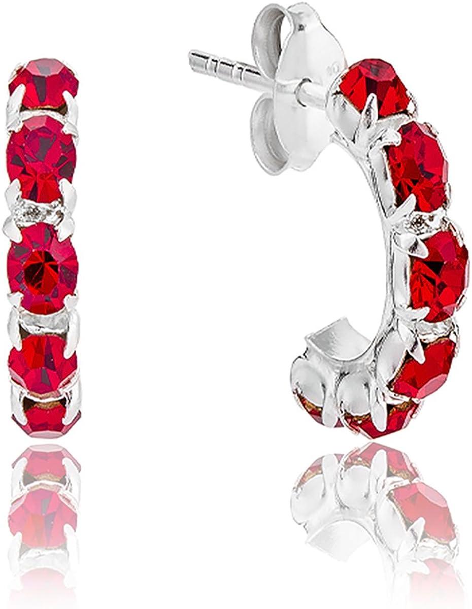 DTP Silver - Pendientes - Medio Aro - Plata de Ley 925 con Cristal Swarovsky de color: Rojo Siam - Espesor 3 mm - Diámetro 12 mm