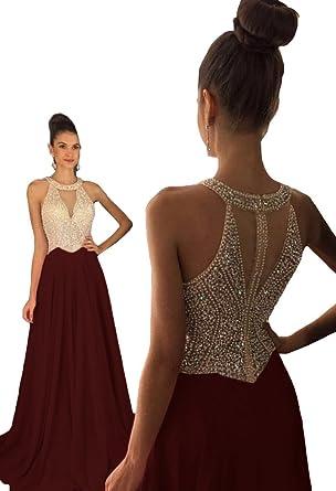 daf6fe8dd86 Dressytailor Women s Halter A-line Long Chiffon Prom Dress Beaded Formal  Evening Gown Burgundy