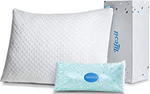 Lifewit Shredded Memory Foam Pillow, Adjustable Bed Pillow for Sleeping, Hypoallergenic Cooling Pillow for Side, Back, Stomach Sleepers, Washable Pillow Cover - CertiPUR-US Certified - Queen