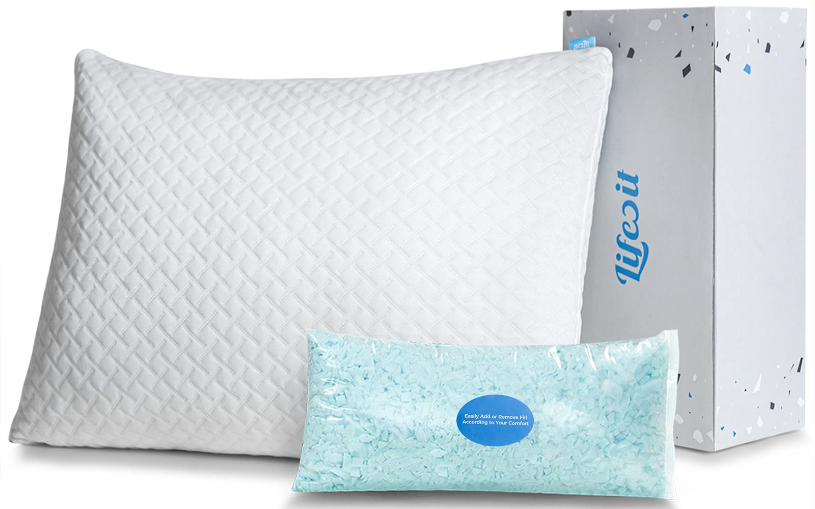 Lifewit Premium Shredded Memory Foam Pillow – Adjustable Loft Hypoallergenic Cooling Pillow