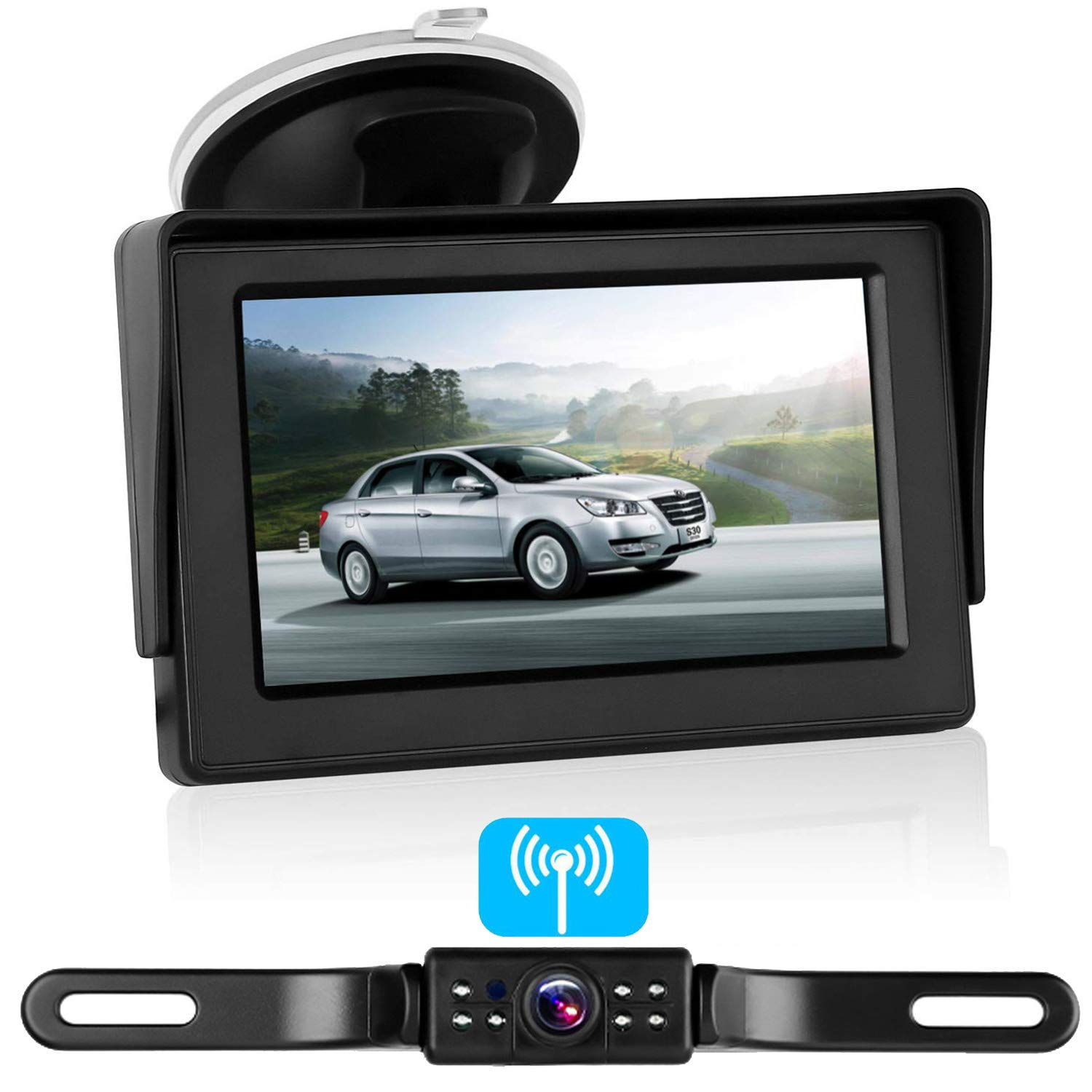 Emmako Backup Camera Digital Wireless and 4.3 Monitor Kit No Flickers for Car//RV//Truck//5th Wheel//Trailer Guide Lines ON//Off IP68 Waterproof Rear//Side//Front Facing View System Reverse//Driving Use 4350449856