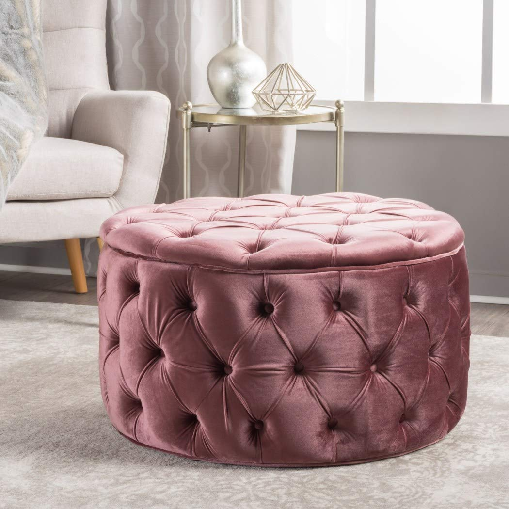 One piece blush pink ottoman tufted themed furniture velvet trendy modern chic stylish elegant home design accent luxurious seating foot stool polyester