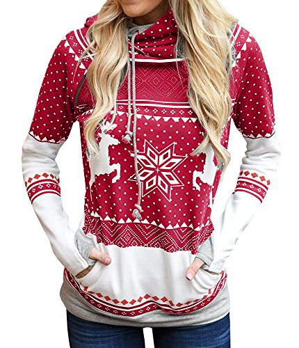 HONEY BOUTIQUE Womens boutique Floral Printed Long Sleeve Hoodie Pullover Sweatshirts With Pockets (Red, (No Noggin Halloween)