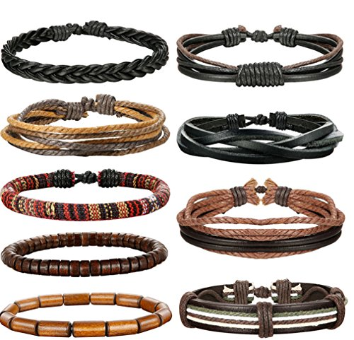 (LOLIAS 9 Pcs Leather Bracelet for Men Women Wooden Beaded Bracelets Adjustable YP)