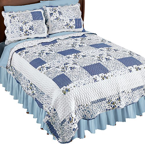 Collections Etc Hadley Floral Patchwork Reversible Lightweight Quilt, Blue, Full/Queen ()