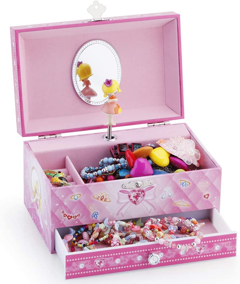 Beautiful Dreamer Tune Blue Kids Musical Jewelry Box for Girls with Big Drawer and Jewelry Set with Cute Princess Theme