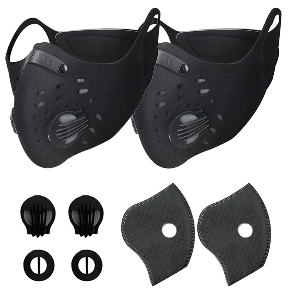 Activated Carbon Dustproof Mask - Dust Face Mask with Gas Filter Mask, N95 Pollution Bicycle Woodworking Mask with Replacement Filters for Fire/Paint Other Sports Outdoor Protective