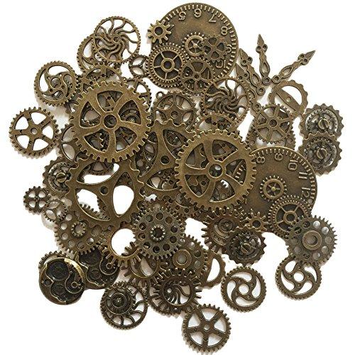 N'joy 70-Piece Skeleton Steampunk Clock Watch Gear Cog Wheel Pendant Charms, Antique Bronze