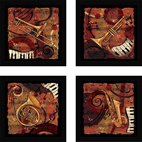 Jazz Music IV created by CW Designs Inc. - Set of 4 Art Prints framed with 1 inch Black Moulding - 12 x 12 inches