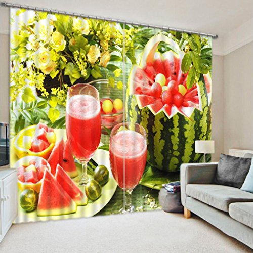 3D Curtains Watermelon Kitchen Curtains Personalized High Decorative High Density Shading ( Size : 3.2x2.7M ) by YAN