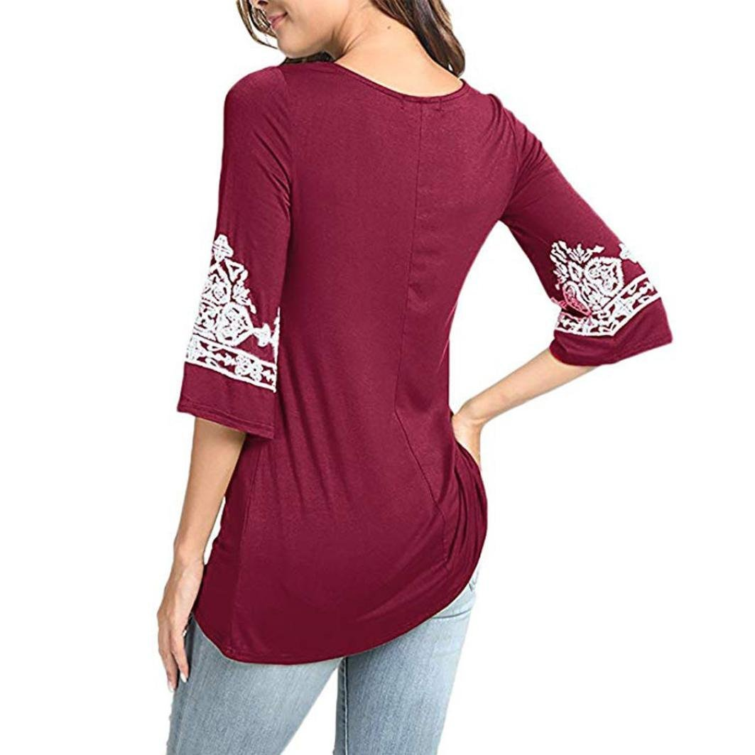 Amazon.com: NREALY Womens Three Quarter Boho Tunic Shirts Heart Printed Tops Tee T-Shirt Blouses: Clothing