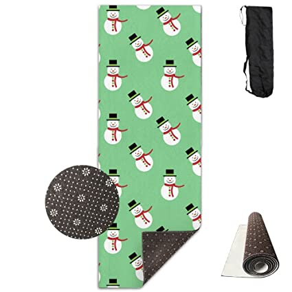 Non Slip Yoga Mat Christmas Snowman Premium Printed 24 X 71 Inches Great For Exercise Pilates